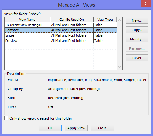 Use the Manage All Views dialog to modify the default Compact View that is being used for all new folders.