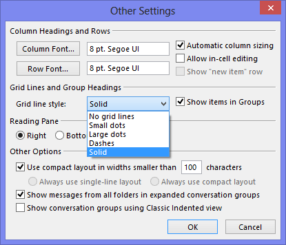 Setting a grid style in Outlook 2013