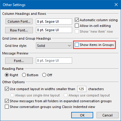 "Disabling ""Show items in Groups"" via the View settings."
