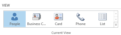 Current View Gallery on the Ribbon in Outlook 2013