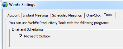 WebEx Toolbar/Ribbon buttons not available - MSOutlook info