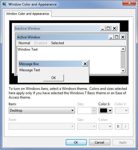 Windows Color and Appearance dialog in Windows 7