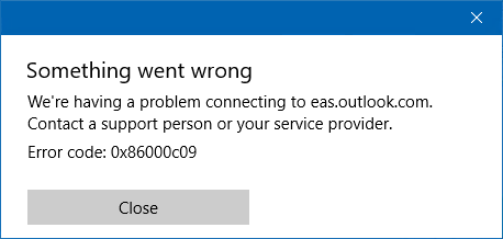 EAS sync error 0x86000c09 in the Windows 10 Mail app.