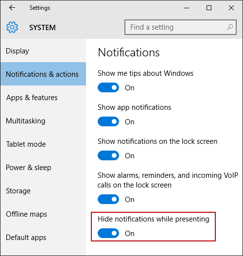 Hide notifications while presenting - Windows Settings App