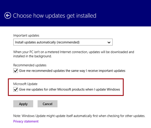 Windows 8 also allows you to select Microsoft Update via its touch friendly interface.