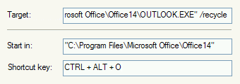 Opening Outlook or restoring the Outlook window with a keyboard