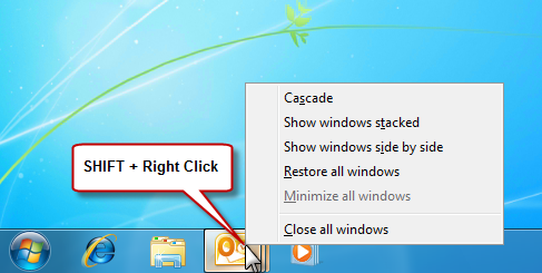 Classic windows organize menu