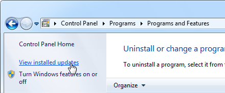 Uninstall Office update - Windows 7
