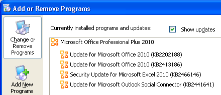 Uninstall Office update - Windows XP