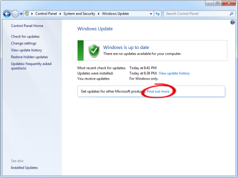 Enabling Microsoft Update in Windows 7