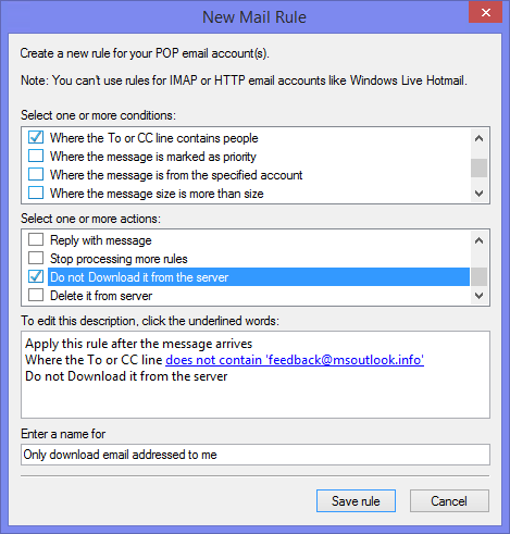 Windows Live Messages - Do not download it from server rule. (click on image to enlarge)