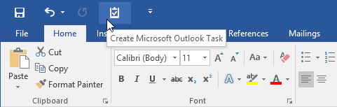 Creating an Outlook Task from Word via a QAT command.