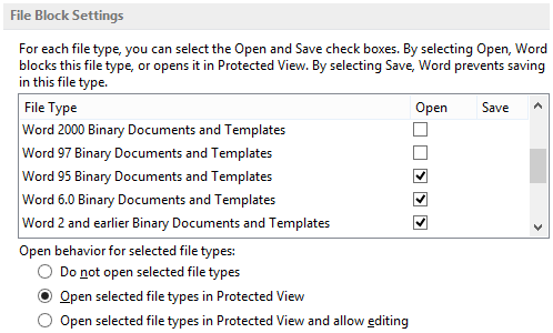 File Block Settings - Open selected file types in Protected View