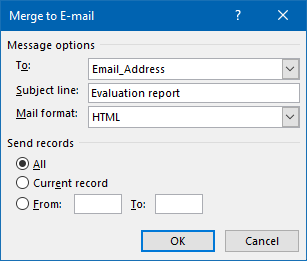 Default Mail Merge options in Word.