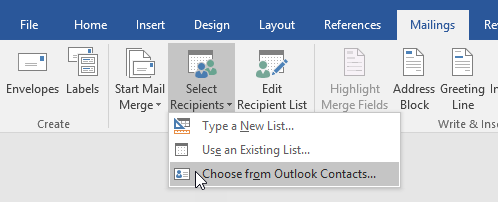 Select Outlook Contacts as recipient source for your Mail Merge.