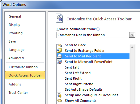 Word 2010 Options - Qucik Access Toolbar - Send to Mail Recipient