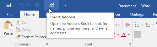 Insert Address feature in the QAT of Word 2016