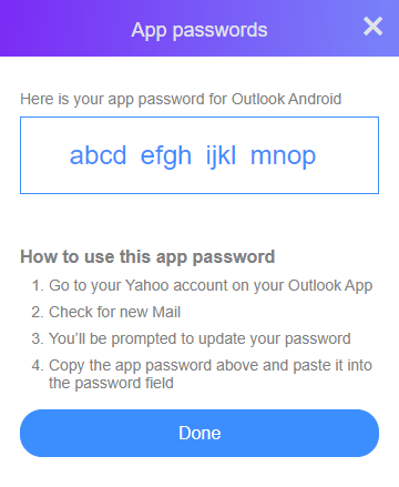 Outlook and Two-Step Verification for Yahoo! accounts