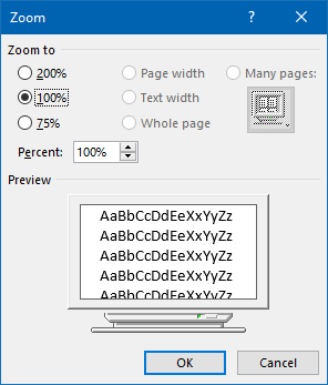 Zoom options dialog